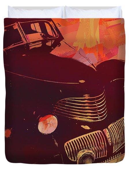 1940 Hupp Skylark Red Pop Duvet Cover