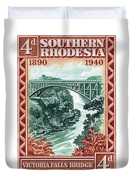Duvet Cover featuring the painting 1940 Southern Rhodesia Victoria Falls Bridge  by Historic Image