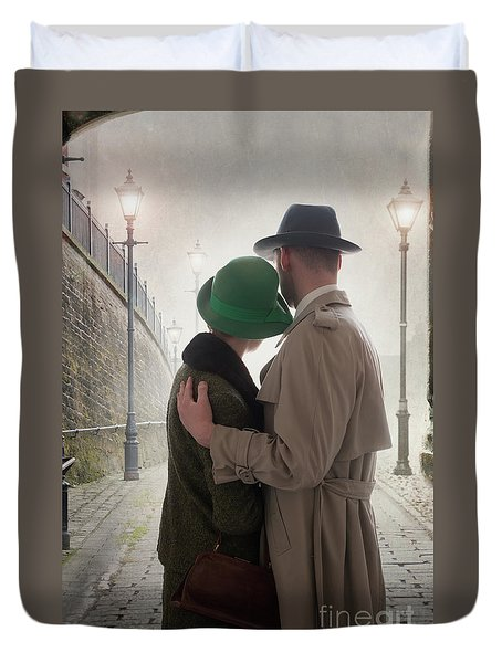 1940s Couple At Dusk  Duvet Cover