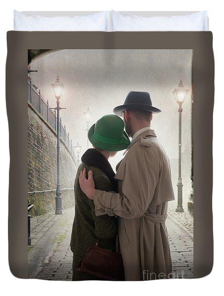 1940s Couple At Dusk  Duvet Cover by Lee Avison