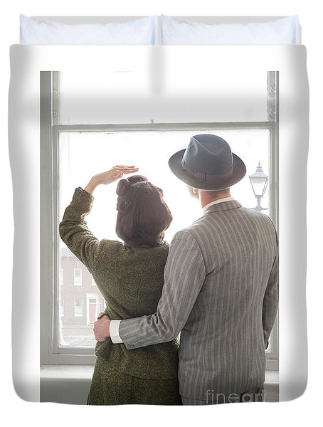 1940s Couple At The Window Duvet Cover by Lee Avison