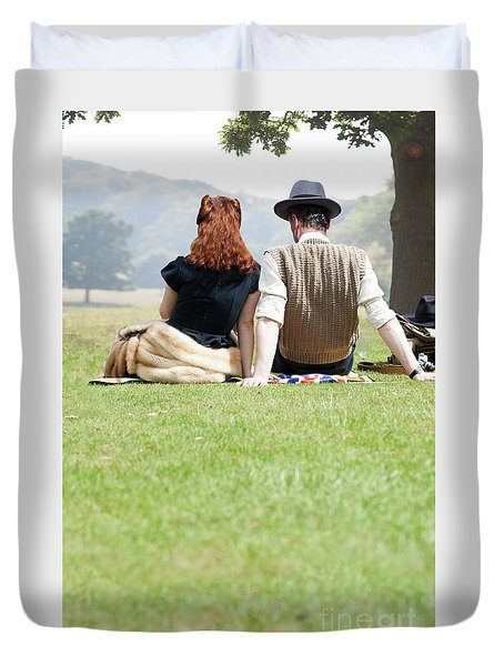 1940s Couple Sitting In The Sunshine Duvet Cover