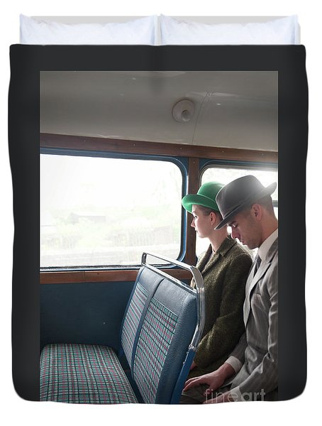 1940s Couple Sitting On A Vintage Bus Duvet Cover