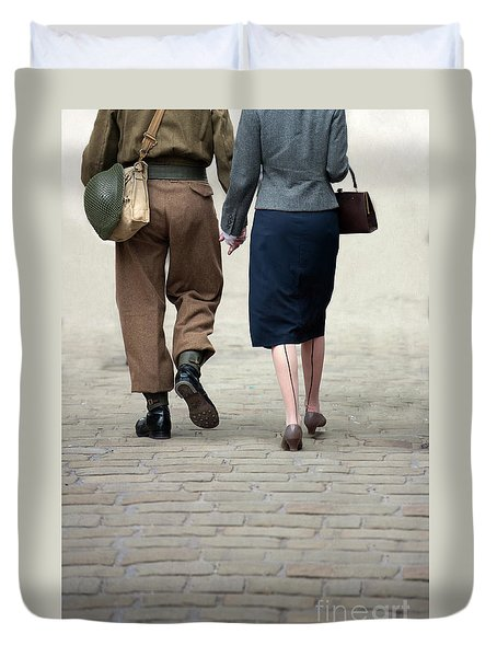 1940s Couple Soldier And Civilian Holding Hands Duvet Cover by Lee Avison
