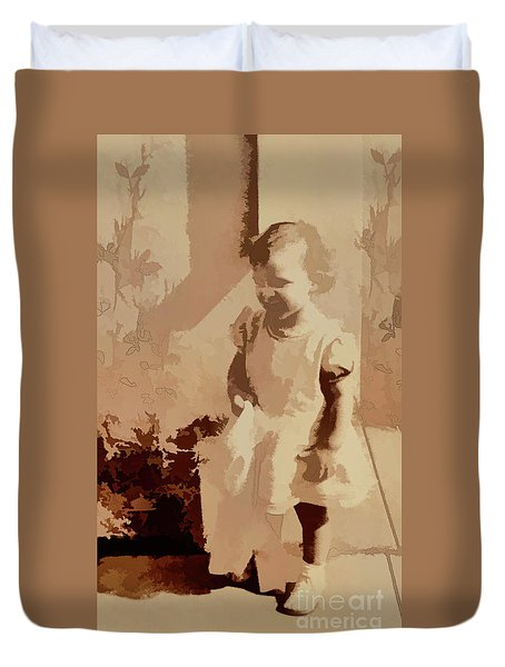 Duvet Cover featuring the photograph 1940s Little Girl by Linda Phelps