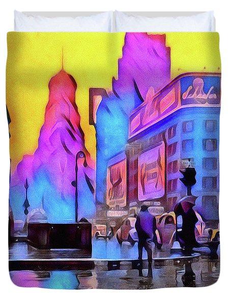 1940s Times Square Rain Duvet Cover by Susan Maxwell Schmidt