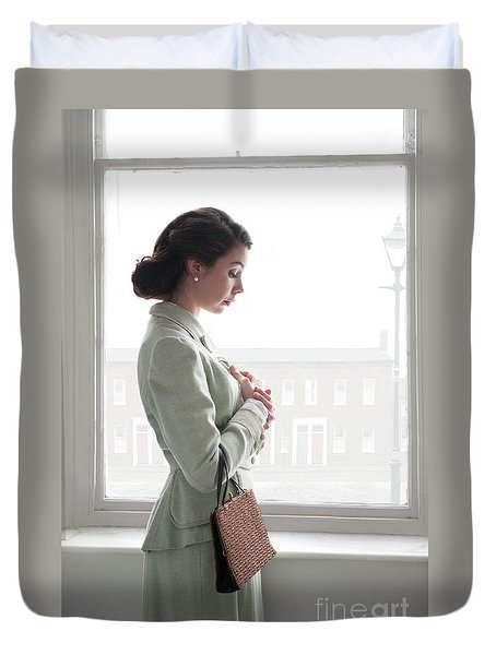 1940s Woman At The Window Duvet Cover by Lee Avison
