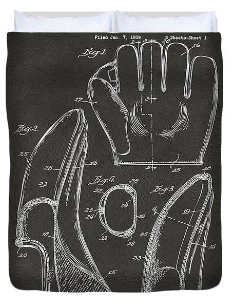 1941 Baseball Glove Patent - Gray Duvet Cover