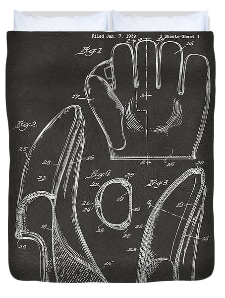Duvet Cover featuring the digital art 1941 Baseball Glove Patent - Gray by Nikki Marie Smith