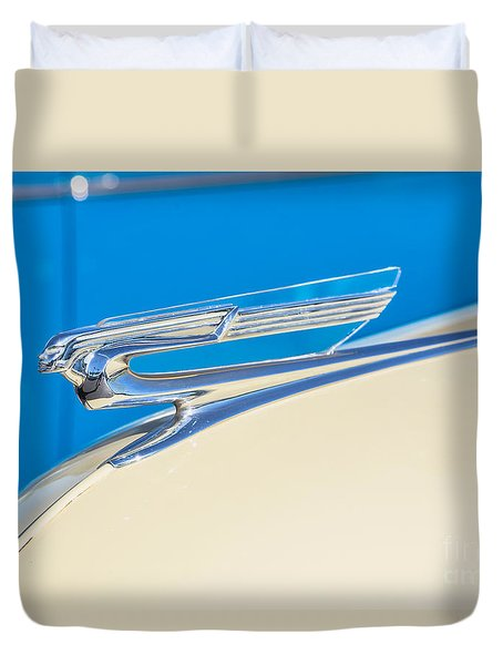 Duvet Cover featuring the photograph 1941 Chevy Hood Ornament by Aloha Art