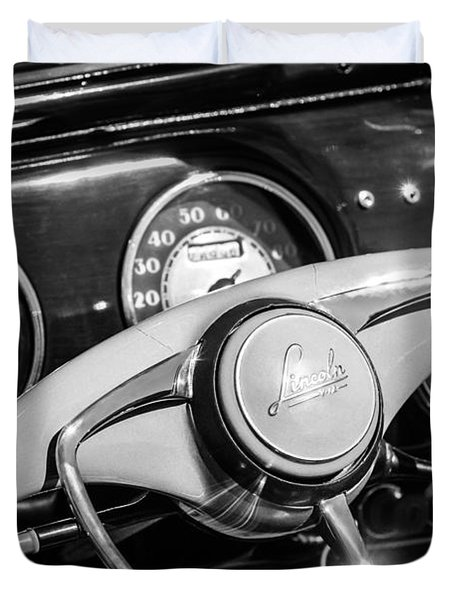 Duvet Cover featuring the photograph 1941 Lincoln Continental Cabriolet V12 Steering Wheel -226bw by Jill Reger