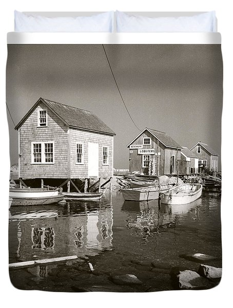 Duvet Cover featuring the photograph 1941 Lobster Shacks, Martha's Vineyard by Historic Image