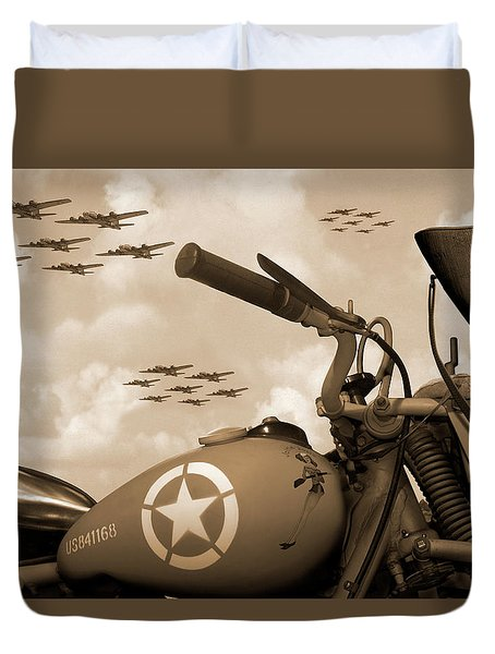 Duvet Cover featuring the photograph 1942 Indian 841 - B-17 Flying Fortress - H by Mike McGlothlen