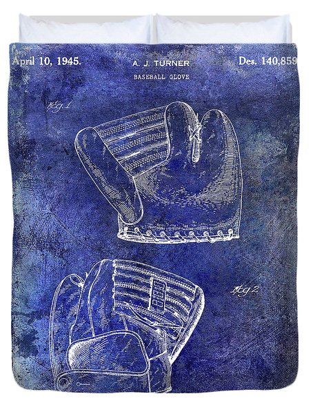 1945 Baseball Glove Patent Blue Duvet Cover by Jon Neidert