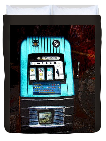 1945 Mills High Top 5 Cent Nickel Slot Machine Duvet Cover