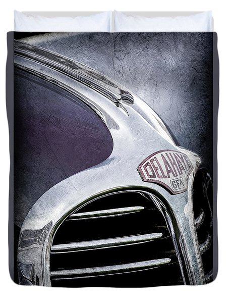 Duvet Cover featuring the photograph 1947 Delahaye Emblem -1477ac by Jill Reger
