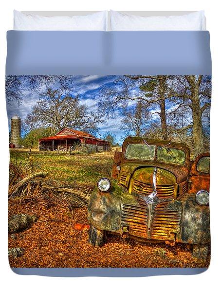 Retired 1947 Dodge Dump Truck Country Scene Art Duvet Cover
