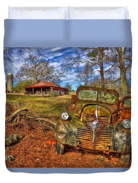 1947 Dodge Dump Truck Country Scene Art Duvet Cover by Reid Callaway