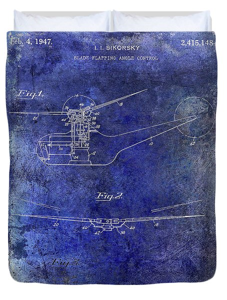 1947 Helicopter Patent Blue Duvet Cover