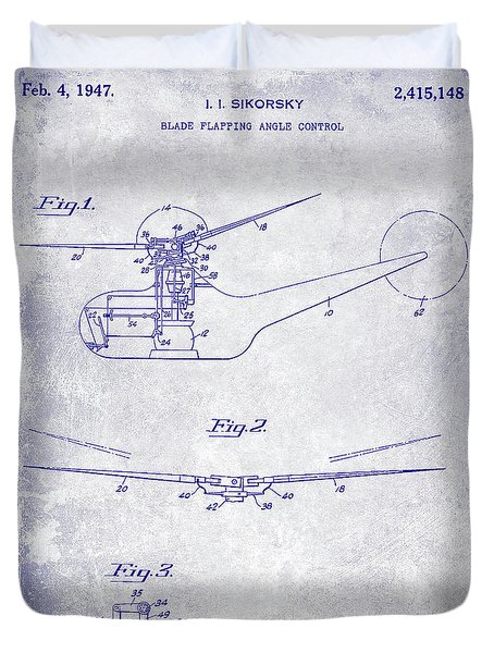 1947 Helicopter Patent Blueprint Duvet Cover