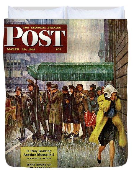 1947 Saturday Evening Post Magazine Cover Duvet Cover