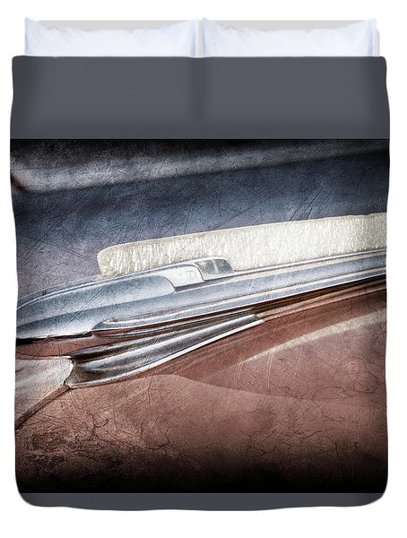 Duvet Cover featuring the photograph 1948 Chevrolet Hood Ornament -0587ac by Jill Reger