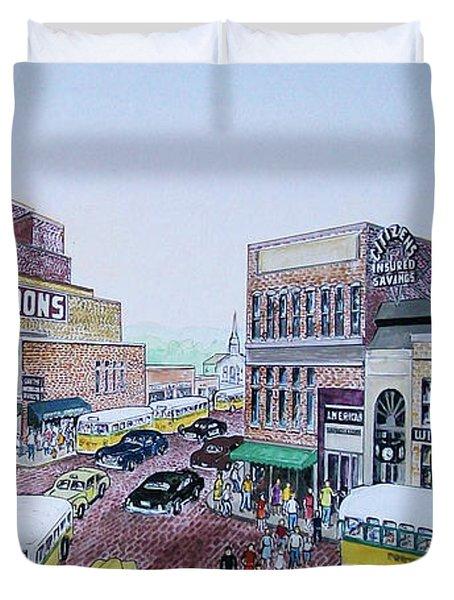 Rush Hour Portsmouth Ohio 1948 Duvet Cover