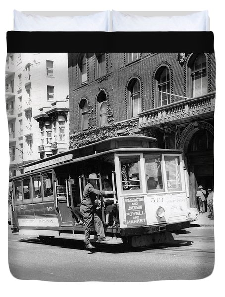 1948 San Francisco Cable Car 513 Duvet Cover by Historic Image