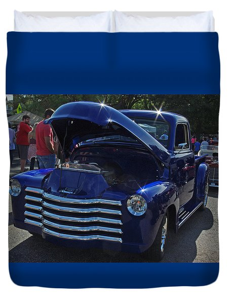 1949 Chevy Blue Pickup Duvet Cover by Robyn Stacey
