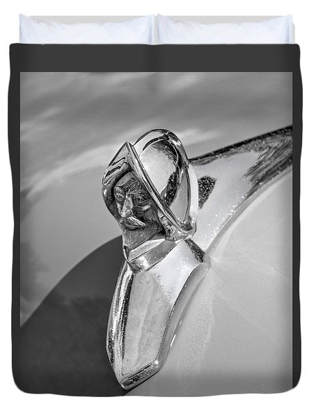 Duvet Cover featuring the photograph 1949 Desoto Hood Ornament by Betty Denise