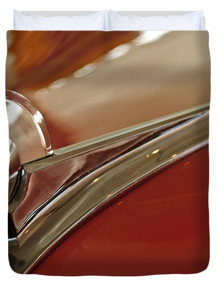 1949 Ford Custom Hood Ornament Duvet Cover by Jill Reger