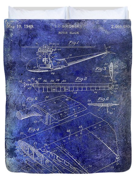 1949 Helicopter Patent Blue Duvet Cover