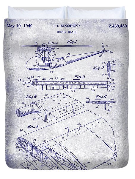 1949 Helicopter Patent Blueprint Duvet Cover