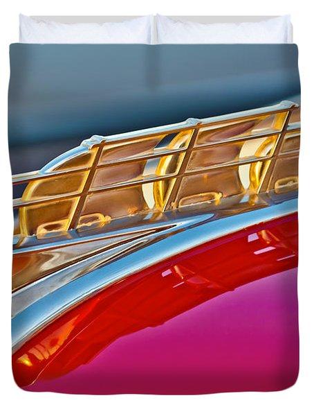 1949 Plymouth Hood Ornament Duvet Cover
