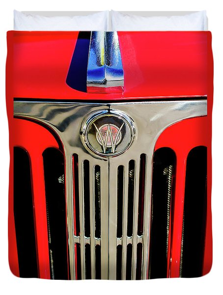 1949 Willys Jeepster Hood Ornament And Grille Duvet Cover by Jill Reger