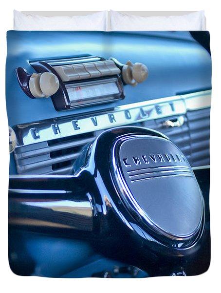 1950 Chevrolet 3100 Pickup Truck Steering Wheel Duvet Cover by Jill Reger