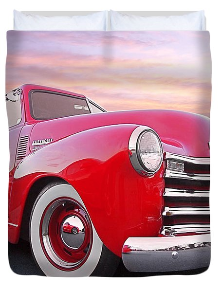 1950 Chevy Pick Up At Sunset Duvet Cover