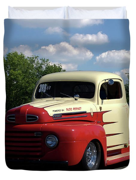 Duvet Cover featuring the photograph 1950 Ford F1 Pickup Dragster by Tim McCullough