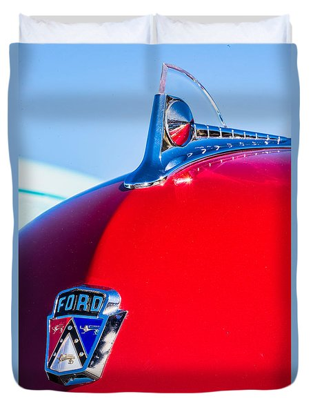 Duvet Cover featuring the photograph 1950 Ford Hood Ornament by Aloha Art