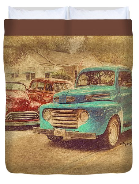 1950 Ford Truck Classic Cars - Homecoming Duvet Cover