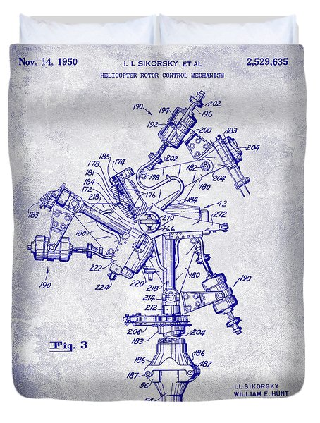 1950 Helicopter Patent Blueprint Duvet Cover