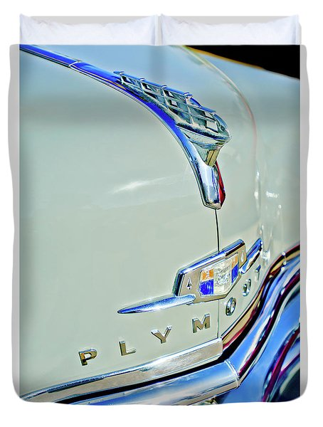 1950 Plymouth Coupe Hood Ornament Duvet Cover by Jill Reger