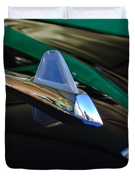 1950 Studebaker Custom Convertible Hood Ornament Duvet Cover by Jill Reger