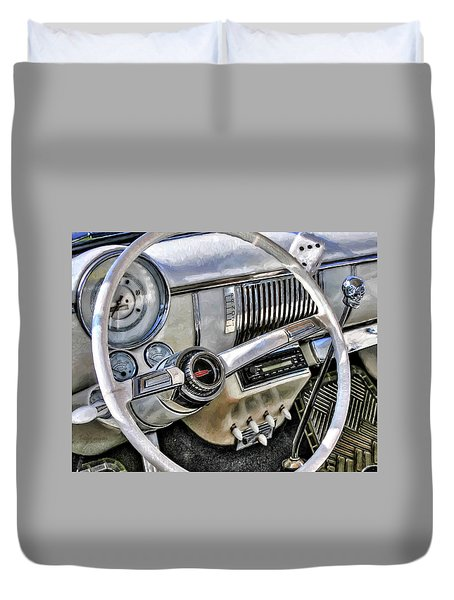 1950 White Chevy Coupe Duvet Cover