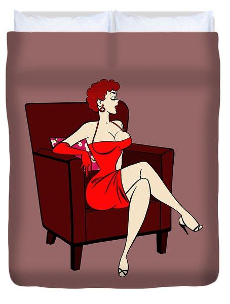1950s Cartoon Pinup Girl Duvet Cover
