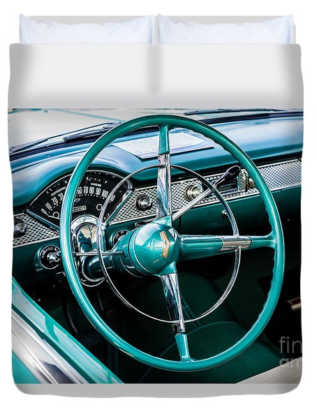 Duvet Cover featuring the photograph 1955 Chevrolet Bel Air by M G Whittingham