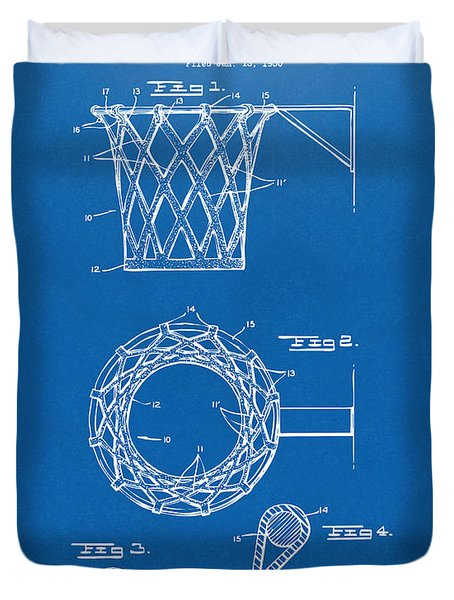 1951 Basketball Net Patent Artwork - Blueprint Duvet Cover