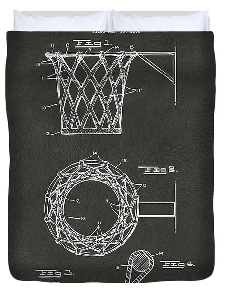 1951 Basketball Net Patent Artwork - Gray Duvet Cover
