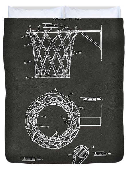 Duvet Cover featuring the digital art 1951 Basketball Net Patent Artwork - Gray by Nikki Marie Smith