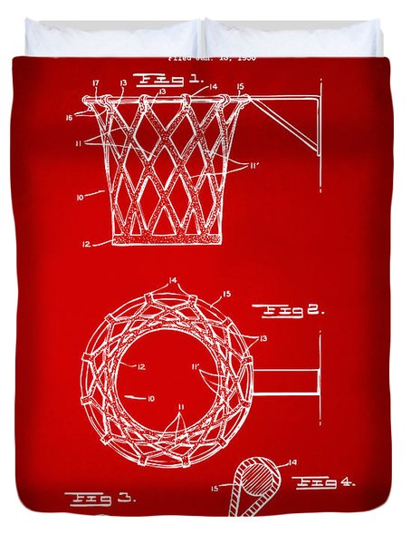 Duvet Cover featuring the digital art 1951 Basketball Net Patent Artwork - Red by Nikki Marie Smith